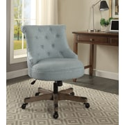 Linon Sinclair Office Chair, Upholstered, Light Blue,  Gray wash Wood Base (178403LTBLU01U)