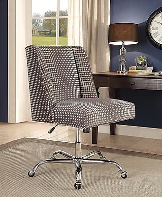Linon Draper Office Chair, Upholstered, Gray Dot, Chrome Base (178404GDOT01U)
