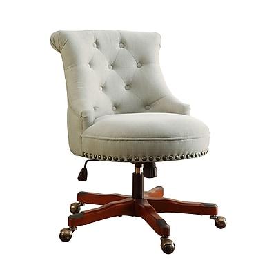 Linon Sinclair Office Chair, Upholstered, Natural, Dark Walnut Wood Base (178403NAT01U)