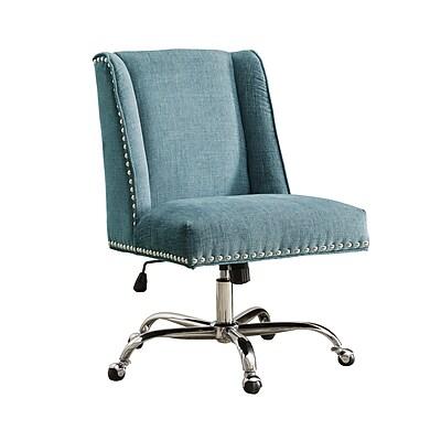 Linon Draper Office Chair, Upholstered, Aqua, Chrome Base (178404AQUA01U)