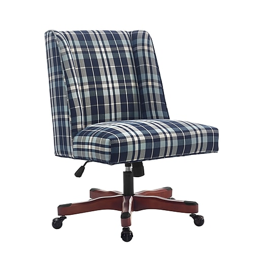 is product staples walnut wood wid chair images s draper office hei linon dark desk plaid com blue base for upholstered