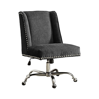 Linon Draper Office Chair, Charcoal, Chrome Base (178404CHAR01U)