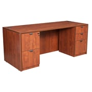 "Legacy 66"" Double Full Pedestal Desk, Cherry Laminate (LDPF6630CH)"