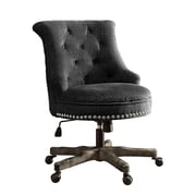 Linon Sinclair Office Chair, Upholstered, Charcoal Gray, washed wood base (178403CHAR01U)