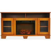 """Cambridge Savona 59"""" Electric Fireplace in Teak with Entertainment Stand and Charred Log Display (CAM6022-1TEK)"""