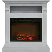 "Cambridge Sienna 34"" Electric Fireplace w/ 1500W Log Insert and White Mantel (CAM3437-1WHT)"