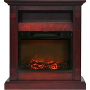 "Cambridge Sienna 34"" Electric Fireplace w/ 1500W Log Insert and Cherry Mantel (CAM3437-1CHR)"