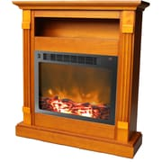"Cambridge Sienna 34"" Electric Fireplace w/ 1500W Log Insert and Teak Mantel (CAM3437-1TEK)"