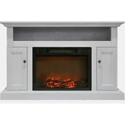 """Cambridge Sorrento Electric Fireplace with 1500W Log Insert and 47"""" Entertainment Stand in White (CAM5021-2WHT)"""