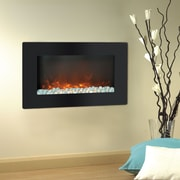 "Cambridge Callisto 30"" Wall-Mount Electronic Fireplace with Flat Panel and Crystal Rocks (CAM30WMEF-1BLK)"