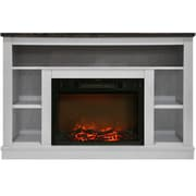 "Cambridge 47"" Electric Fireplace with 1500W Charred Log Insert and A/V Storage Mantel in White (CAM5021-1WHT)"