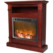"Cambridge Sienna 34"" Electric Fireplace w/ 1500W Log Insert and Mahogany Mantel (CAM3437-1MAH)"