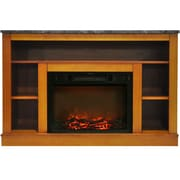 "Cambridge 47"" Electric Fireplace with 1500W Charred Log Insert and A/V Storage Mantel in Teak (CAM5021-1TEK)"