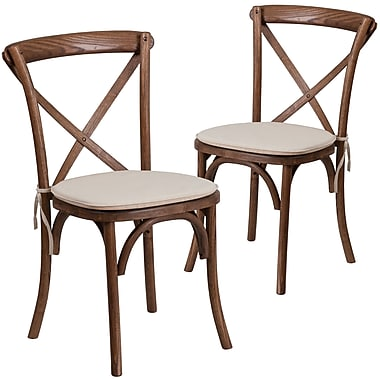 Flash Furniture Pecan Cross Back Accent Chair Set of 2 (2XUXPECNTC)