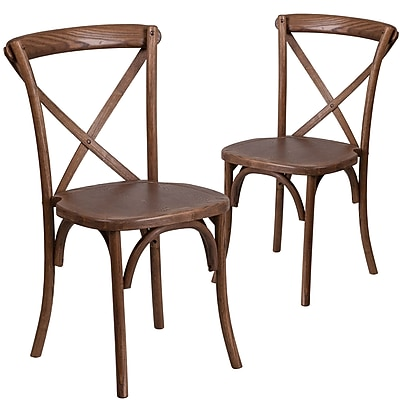 Flash Furniture Pecan Cross Back Accent Chair Set of 2 (2XUXPEC)