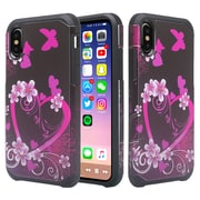 SumacLife Pink Flower Slim Back Cover Case Dual Layer For iPhone X (APLCRC845)