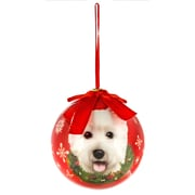 CueCuePet Christmas Tree Ornaments Red Ball, Dog Collection Westie (ORNDOG015)