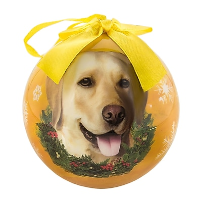 CueCuePet Christmas Tree Ornaments Orange Golden Ball, Dog Collection Labrador (ORNDOG009)