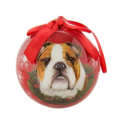 CueCuePet Chrismas Tree Ornaments Red Ball, Dog Collection Bulldog (ORNDOG003)