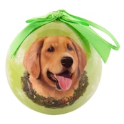 CueCuePet Christmas Tree Ornaments Green Ball, Dog Collection Golden Retriever (ORNDOG007)