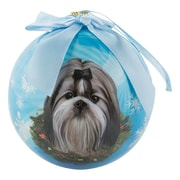 CueCuePet Christmas Tree Ornaments Blue Ball, Dog Collection Shih Tzu (ORNDOG014)