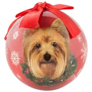 CueCuePet Christmas Tree Ornaments Red Ball, Dog Collection Yorkie (ORNDOG016)