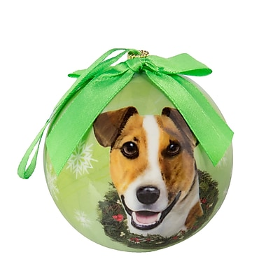 CueCuePet Chrismas Tree Ornaments Green Ball, Dog Collection Jack Russell (ORNDOG008)