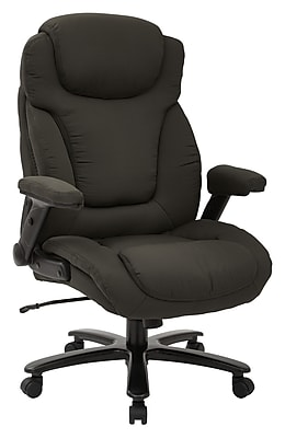 Pro-Line II Big & Tall Deluxe High Back Charcoal Fabric Executive Chair with Padded Flip Arms (39202)