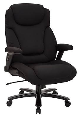 Pro-Line II Big & Tall Deluxe High Back Black Fabric Executive Chair with Padded Flip Arms (39203)