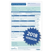 """ComplyRight 2018 Time Off Request and Approval Form, 5-1/2"""" x 8-1/2"""", 2-Part, Pack of 50 (A0045)"""