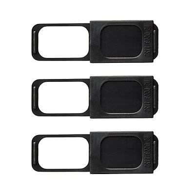 "C-SLIDE Webcam Cover Family Pack 3 1.0 Black Plastic, 1.5mm thin, 1.36"" wide x .50"" tall, universal fit for most laptops"
