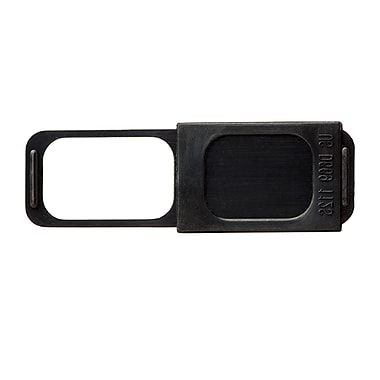 """C-SLIDE Webcam Cover 1.0 Black Plastic, 1.5mm thin, 1.36"""" wide x .50"""" tall, universal fit for most laptops (1.0BLKST)"""