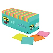 """Post-it® Super Sticky Notes, 3"""" x 3"""", Miami Collection, 70 Sheets/Pad, 24 Pads/Pack (654-24SSMIA-CP)"""