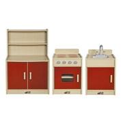 ECR4Kids Colorful Essentials 3-Piece Kitchen Set, Red (ELR-17510-RD)