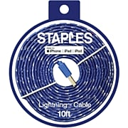 Staples 10 ft. Fabric Lightning to USB-A Cable, Blue