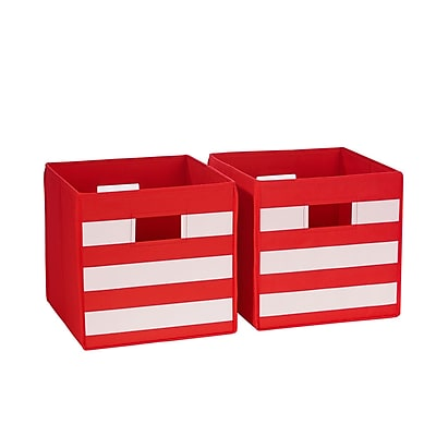 RiverRidge 2 Piece Folding Storage Bin, Red with White Stripes