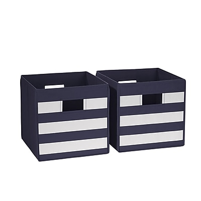 RiverRidge 2 Piece Folding Storage Bin, Navy with White Stripes