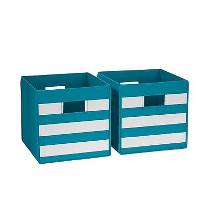 RiverRidge 2 Piece Folding Storage Bin, Turquoise with White Stripes