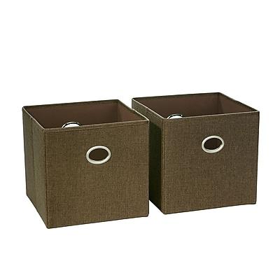 RiverRidge 2 Piece Folding Storage Bin, Brown