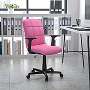 Flash Furniture Mid-Back Quilted Vinyl Task Chair With Nylon Arms, Pink