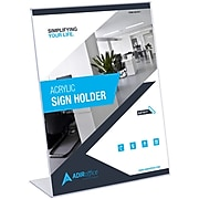 """AdirOffice Sign Holder, 8.5"""" x 11"""", Clear Acrylic, 3/Pack (639-8511-03)"""
