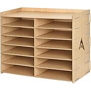 AdirOffice Wood Grain 12 Compartment Paper Literature Organizer Sorter (503-12-WOD)