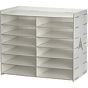 AdirOffice Wood 12 Compartment Paper Literature Organizer Sorter, White (503-12-WHI)