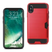 iPhone X Slim Armor Hybrid Case With Card Holder, Red (SPWC01-IPH8RD)