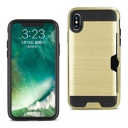 iPhone X Slim Armor Hybrid Case With Card Holder, Gold (SPWC01-IPH8GD)