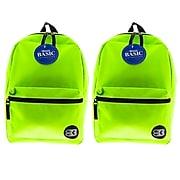 "Bazic Basic Backpack, 16"", Lime Green, Pack of 2 (BAZ1034-2)"