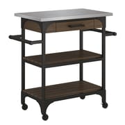 Bell'O Caraway Kitchen Cart with Stainless Steel Top, Saw Cut Espresso (KC3456-PD01-32)