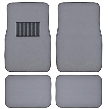 BDK Classic Carpet Floor Mats for Car, SUV & Truck - Universal Fit -Front & Rear with Heelpad, Light Gray (MT-100-LG)