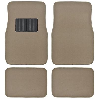 BDK Classic Carpet Floor Mats for Car, SUV & Truck - Universal Fit -Front & Rear with Heelpad, Medium Beige (MT-100-MB)
