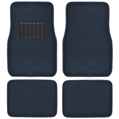 BDK Classic Carpet Floor Mats for Car, SUV & Truck - Universal Fit -Front & Rear with Heelpad, Blue (MT-100-BL)